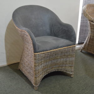 grey wicker armchair