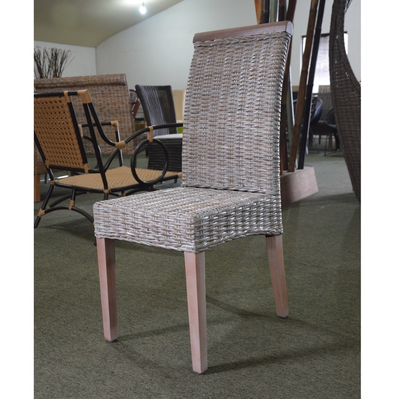Grey Wash Rattan Dining Chairs Sonia Collection