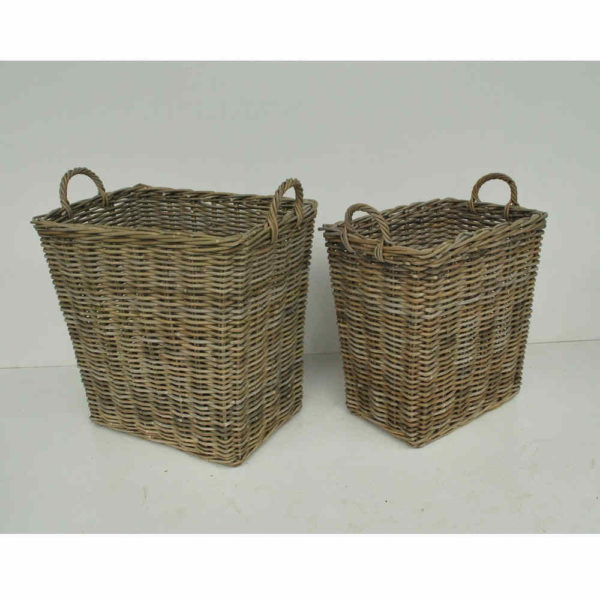 Gray wicker baskets