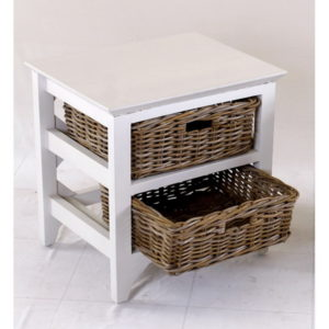 Rattan basket storage unit