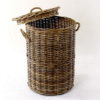 Rattan laundry basket grey