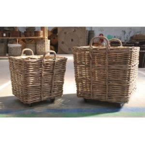 Rattan basket cart