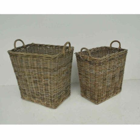 Gray wicker baskets