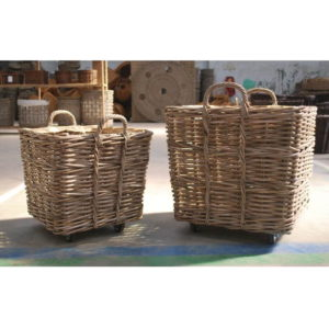 Rattan basket cart